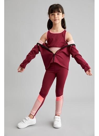 Defacto –Fit Kız Çocuk Renk Bloklu Relax Fit Tayt Mor